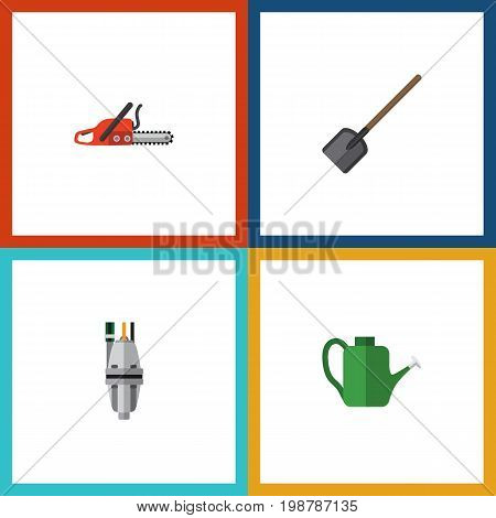 Flat Icon Dacha Set Of Pump, Bailer, Hacksaw And Other Vector Objects