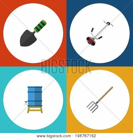 Flat Icon Farm Set Of Grass-Cutter, Container, Trowel And Other Vector Objects