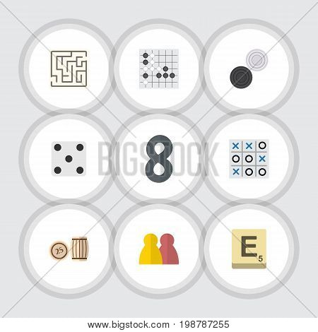 Flat Icon Games Set Of People, Mahjong, Lottery And Other Vector Objects