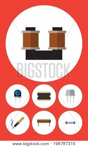 Flat Icon Electronics Set Of Coil Copper, Bobbin, Microprocessor And Other Vector Objects