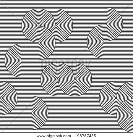 Monochrome Background. Striped Loopy Ribbon.
