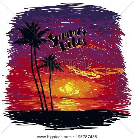 poster for summer vibes and tropical paradise, tropical sunset in sketch style, vector illustration