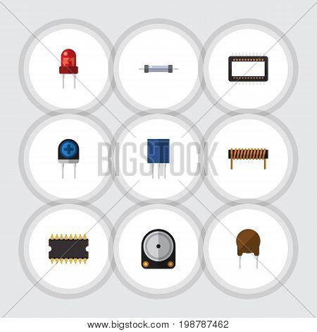 Flat Icon Technology Set Of Hdd, Bobbin, Mainframe And Other Vector Objects