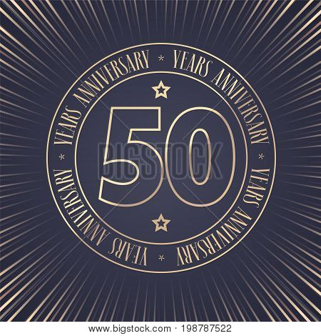 50 years anniversary vector icon logo. Graphic design element with golden stamp with number for 50th anniversary ceremony