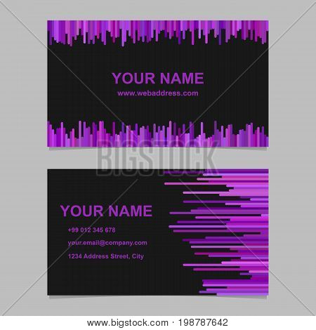 Color business card template design set - vector corporation graphic with vertical lines in purple tones on black background
