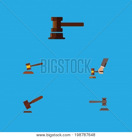 Flat Icon Court Set Of Government Building, Legal, Crime And Other Vector Objects