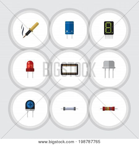Flat Icon Appliance Set Of Mainframe, Resist, Resistor And Other Vector Objects
