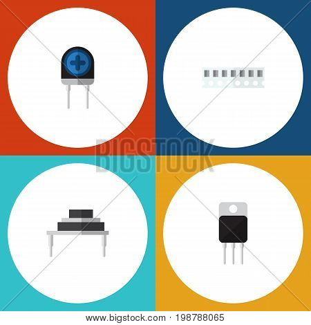 Flat Icon Technology Set Of Destination, Receiver, Memory And Other Vector Objects