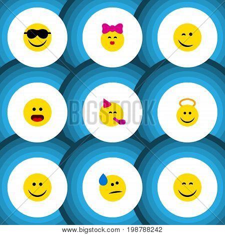 Flat Icon Gesture Set Of Angel, Caress, Happy And Other Vector Objects