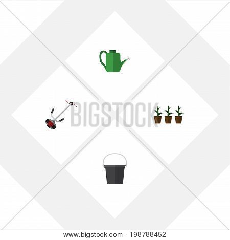 Flat Icon Dacha Set Of Flowerpot, Bailer, Grass-Cutter And Other Vector Objects