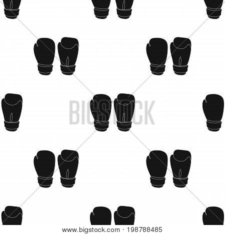 Boxing gloves icon in black style isolated on white background. Boxing symbol vector illustration.