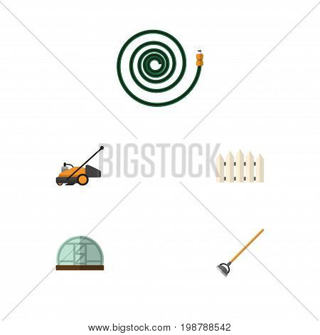 Flat Icon Farm Set Of Hothouse, Hosepipe, Lawn Mower And Other Vector Objects