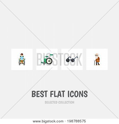 Flat Icon Cripple Set Of Disabled Person, Spectacles, Ancestor And Other Vector Objects