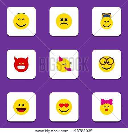 Flat Icon Face Set Of Pleasant, Caress, Laugh And Other Vector Objects