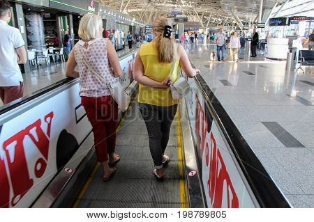 A horizontal escalator for moving passengers at the Vnukovo International Airport (Moscow) - July 2017.