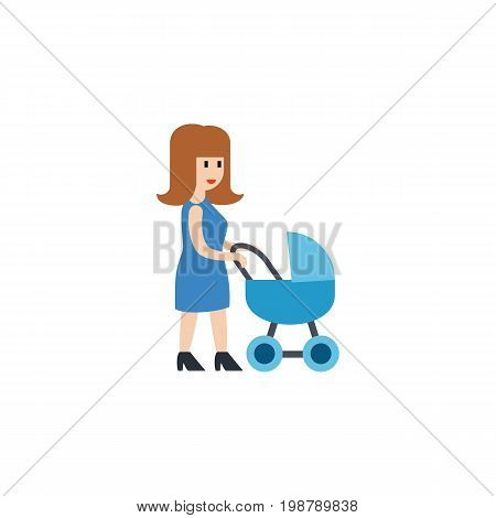 Perambulator Vector Element Can Be Used For Mother, Perambulator, Baby Design Concept.  Isolated Mother Flat Icon.