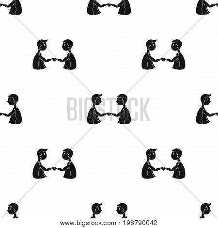 Handshaking of businessmen icon in black design isolated on white background. Conference and negetiations symbol stock vector illustration.