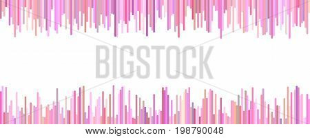 Banner template design - horizontal vector graphic from vertical stripes in pink tones on white background