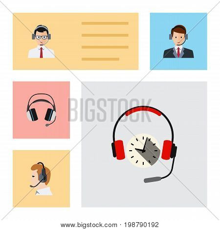 Flat Icon Telemarketing Set Of Telemarketing, Earphone, Hotline And Other Vector Objects