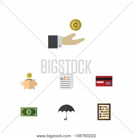 Flat Icon Incoming Set Of Counter, Payment, Greenback And Other Vector Objects