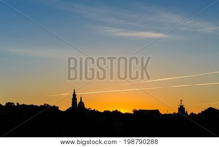 Church Silhouette At Colorful Scenic Sunrise