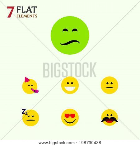 Flat Icon Face Set Of Love, Party Time Emoticon, Asleep And Other Vector Objects