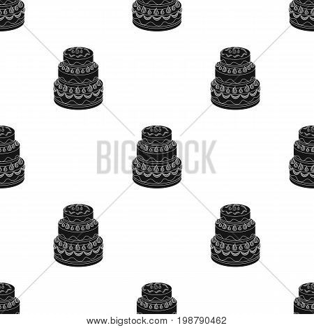 Red three-ply cake icon in black design isolated on white background. Cakes symbol stock vector illustration.