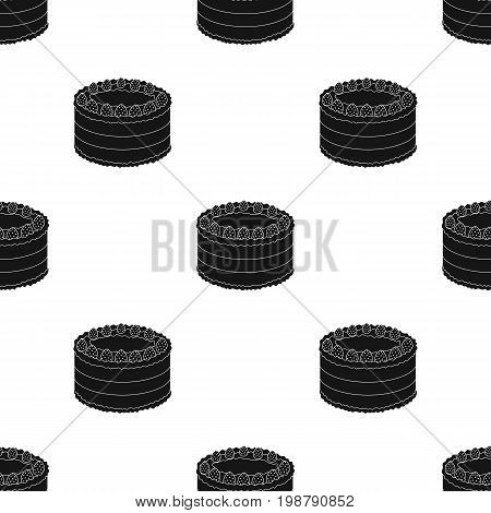 Strawberry cake icon in black design isolated on white background. Cakes symbol stock vector illustration.