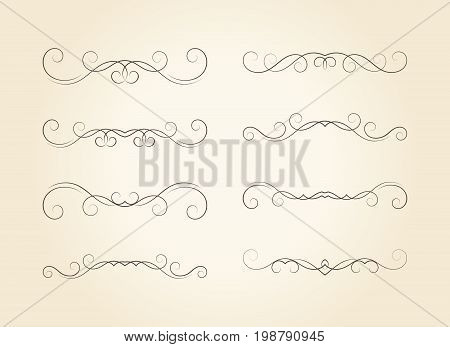 Set of hand drawn vignettes in retro style. Elegant vintage calligraphic borders and dividers for greeting card, retro party, wedding invitation. Vector illustration.
