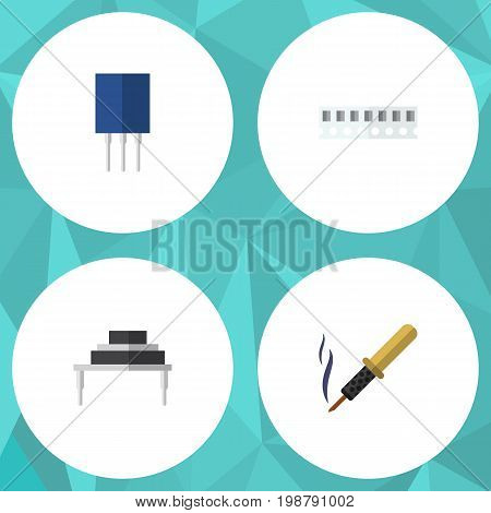 Flat Icon Electronics Set Of Destination, Receptacle, Memory And Other Vector Objects