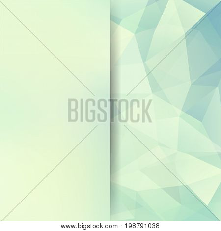 Background Made Of Pastel Blue, White Triangles. Square Composition With Geometric Shapes And Blur E