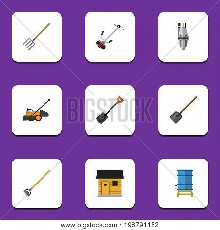 Flat Icon Garden Set Of Spade, Tool, Stabling And Other Vector Objects