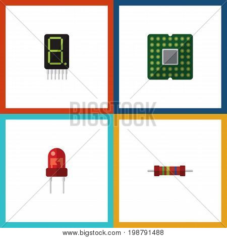 Flat Icon Device Set Of Recipient, Display, Resistance And Other Vector Objects