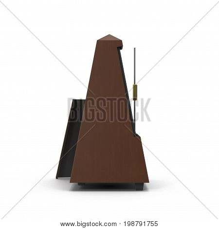 The old- fashioned metronome isolated on white background. 3D illustration