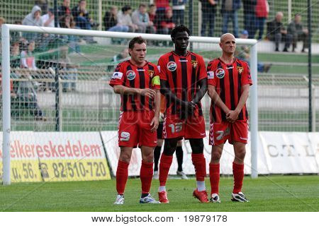 KAPOSVAR, HUNGARY - MAY 5: Unidentified Honved players line up at a Hungarian National Championship soccer game Kaposvar vs Budapest Honved May 5, 2008 in Kaposvar, Hungary.