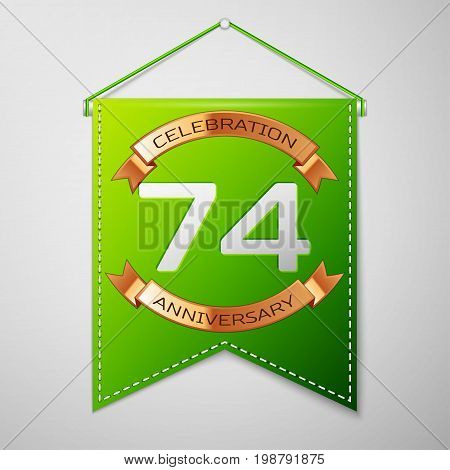 Realistic Green pennant with inscription Seventy four Years Anniversary Celebration Design on grey background. Golden ribbon. Colorful template elements for your birthday party. Vector illustration