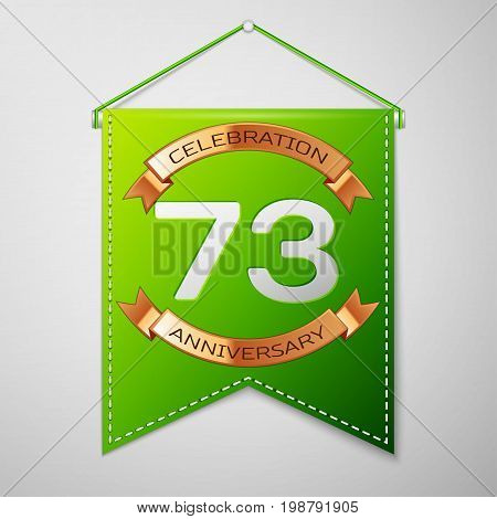Realistic Green pennant with inscription Seventy three Years Anniversary Celebration Design on grey background. Golden ribbon. Colorful template elements for your birthday party. Vector illustration