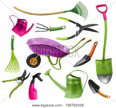 Funny and colorful set of twisted gardening hand tools isolated on white