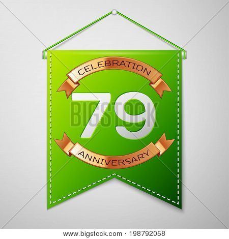 Realistic Green pennant with inscription Seventy nine Years Anniversary Celebration Design on grey background. Golden ribbon. Colorful template elements for your birthday party. Vector illustration