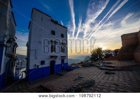 Sunset In Chefchaouen, The Blue City In The Morocco.