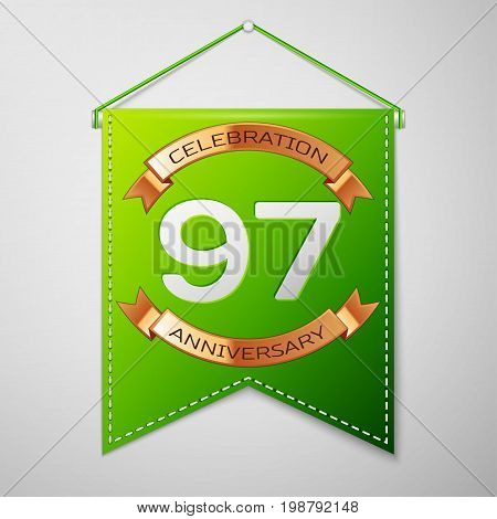 Realistic Green pennant with inscription Ninety seven Years Anniversary Celebration Design on grey background. Golden ribbon. Colorful template elements for your birthday party. Vector illustration