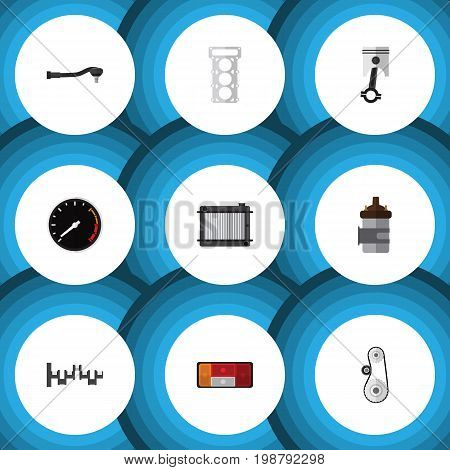 Flat Icon Auto Set Of Headlight, Steels Shafts, Cambelt And Other Vector Objects