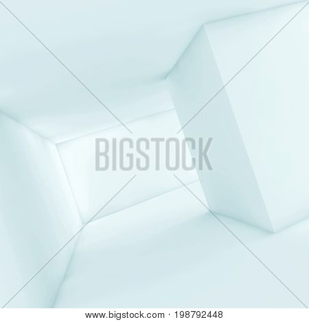 Abstract White Empty Interior, Blue 3D Render