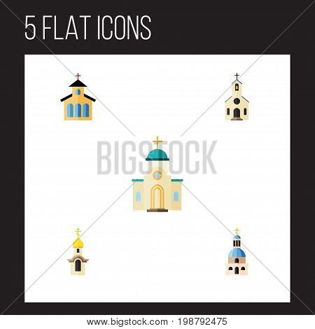 Flat Icon Building Set Of Catholic, Building, Church And Other Vector Objects