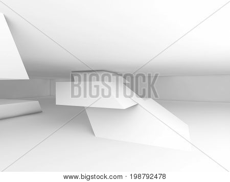 Abstract White Empty Interior, Cg Background 3D