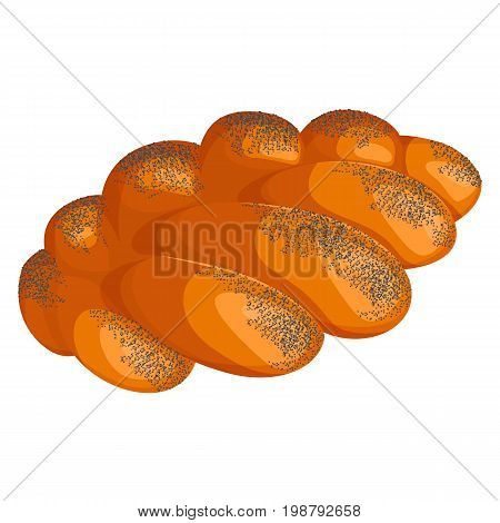 Braided fresh-baked white bread with crust covered in poppy seeds realistic style isolated vector illustration on white background angled view