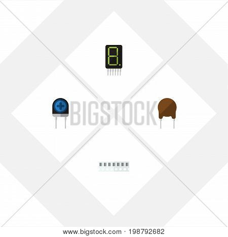 Flat Icon Device Set Of Triode, Transducer, Display And Other Vector Objects