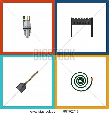 Flat Icon Garden Set Of Shovel, Barbecue, Hosepipe And Other Vector Objects