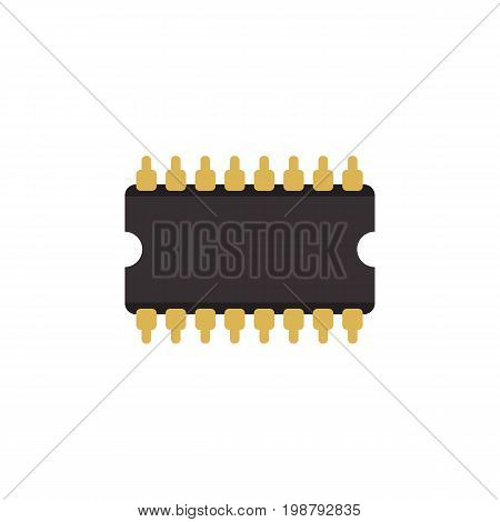 Microprocessor Vector Element Can Be Used For Central, Processor, Unit Design Concept.  Isolated Cpu Flat Icon.