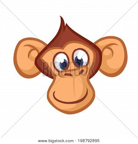 Happy cartoon monkey head. Vector icon of chimpanzee. Design for sticker icon or emblem